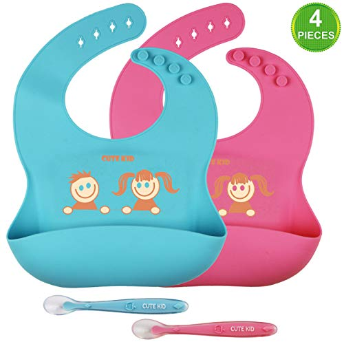 Cute Kid Waterproof Soft Silicone Baby Bibs & Spoons for Boys & Girls | Set of (4 pcs): 2 Color Bibs / 2 Spoons | 4 Adjustable Buttons, So Easy to Clean with Wide Pocket (Blue/Pink)