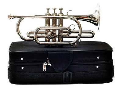 Bb Flat Silver Nickel Cornet With Free Hard Case Mouthpiece shry018