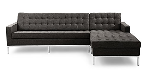 Kardiel Florence Knoll Style Right Sectional Sofa, Charcoal