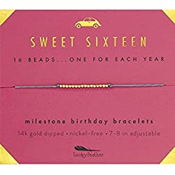 """Lucky Feather Sweet 16 Gold Tone Birthday Bracelet Gift 16 Year Old Girls 14K Dipped Beads on Adjustable 7""""-8"""" Cord"""