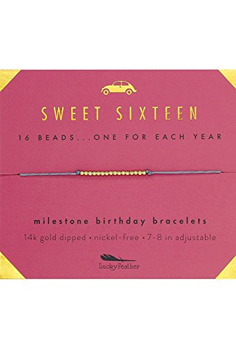 "Lucky Feather Sweet 16 Gold Tone Birthday Bracelet Gift for 16 Year Old Girls with 14K Dipped Beads on Adjustable 7""-8"" Cord for $<!--$15.98-->"