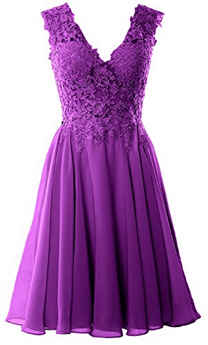 Gorgeous MACloth Gown Cocktail Formal Homecoming Prom Short Dress Amethyst V Neck Lace UAdwqA