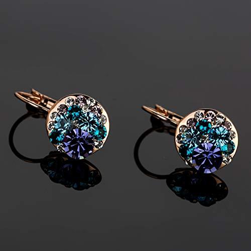 b6b14650d88bd8 Multicolored Swarovski Crystal Earrings for Women Girls 14K Gold Plated  Leverback Dangle Hoop Earrings by EVEVIC