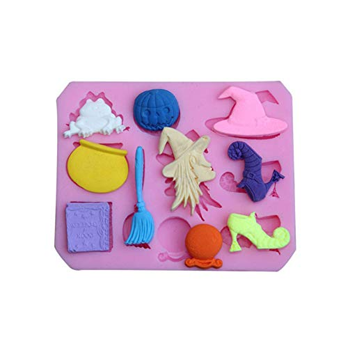 AkoMatial Nonstick Cake Mold, Halloween Witch Broom Silicone Fondant Mold Sugarcraft Cake Decorating Tool - Pink