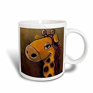 3dRose Female Giraffe Cartoon Painting Ceramic Mug, 15-Ounce