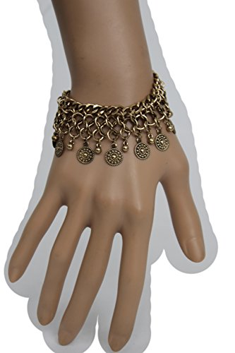 Katy Perry Costume Party City (TFJ Women Fashion Jewelry Antique Vintage Gold Metal Chains Wrist Bracelet Ethnic Moroccan Coins Charms)