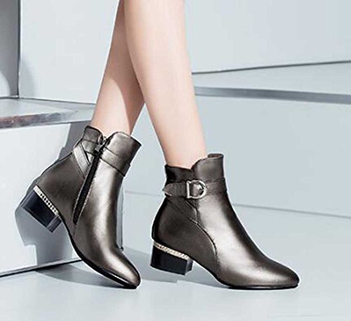 CHFSO Womens Fashion Solid Round Toe Zipper With Buckle Mid Chunky Heel Ankle Boots Gun pFGBG