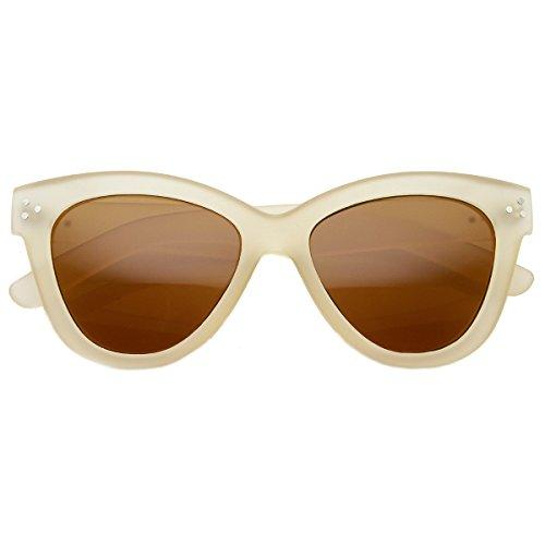 zeroUV - Womens Fashion Oversized Oval Bold Rim Butterfly Cat Eye Sunglasses (Matte-Cream - Cat Eye Cream Sunglasses