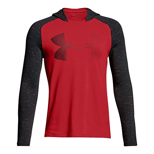 (Under Armour Boys' Charged Cotton Hoodie, Red (600)/Black, Youth Large)