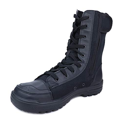 Ludey Men's 8 Inch Military Tactical Combat Duty Work Boot with Zipper Black A-319 Black 8.5 M US