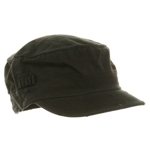 Retro Fitted Hat Cap (Washed Cotton Fitted Army Cap-Black W32S34E)