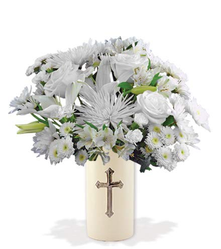 Eternal Blessings Sympathy Bouquet with White Roses, White Cushion Pompons, and White Lilies, in a Cross Vase (Fresh Cut Flowers)