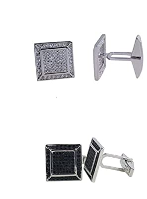 925 Solid Sterling Silver Cufflinks with Cz cfk11