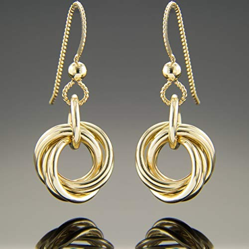 Dainty Knot Dangle Earrings in 14K Yellow Gold Fill - 14k Contemporary Earrings