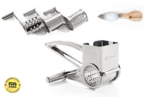 Parmesan Rotary Cheese Grater Stainless Steel | Slicer Shredder with 3 Interchanging Ultra Sharp Cylinder Drums and Knife | Professional Pistachio Grinder also for Chocolate Vegetables Nuts and Fruits