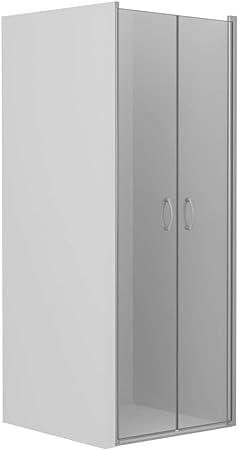 vidaXL Mampara Ducha Frontal 2 Puertas Pivotante Cristal Seguridad Vidrio Templado ESG Aluminio Cabina Baño Transparente Cierre Plato Bañera 75x185 cm: Amazon.es: Hogar