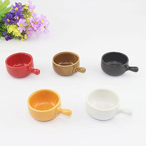Jam Saucer (5pcs/lot With Handle, Ceramic Sauce Dish, Saucer, Color Tableware, Creative Seasoning Dishes, Small Plate Sauce, Jam Dish)
