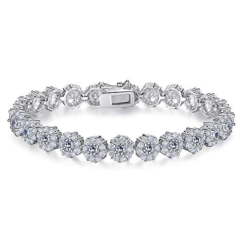 SHKA Gold Plated Tennis Bracelet with Sparkling White Cubic Zirconia Stone for Women Girls, Gifts for Graduation