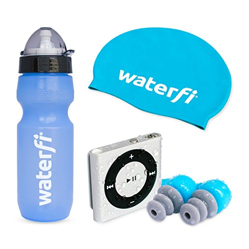 Waterfi Swim Kit Deluxe Featuring The PlatinumX Waterproofed iPod Shuffle , Waterproof Short Cord Headphones, Swim Cap, and Leakproof Water Bottle (Silver)