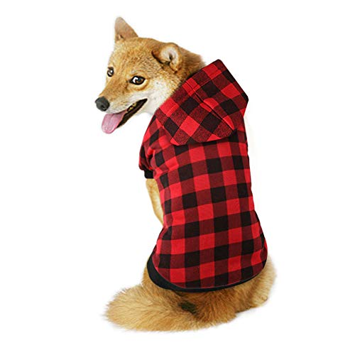 The Creativehome Plaid Dog Hoodie Sweatshirt Sweater for Extra Large Dogs Cat Puppy Clothes Coat Warm and Soft(XXL)