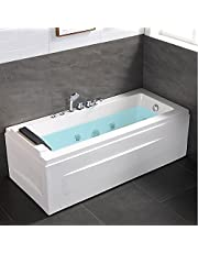 59 Inch Whirlpool Tub with Hydro Massage Jets, Rectangular Jetted Soaking SPA Bathtub, White Acrylic 1 Person Alcove Bathtub with Faucet, Pillow, Drainer (Q351)
