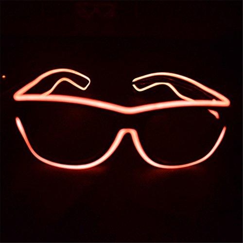 el glasses, el wire with 3v AAA portable controller (Orange)