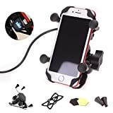 Goodway Universal Motorcycle Cell Phone Mount Holder Waterproof with USB Charger 360° Rotation for iPhone Samsung GPS ATV Scooter Moped Chopper Cruiser