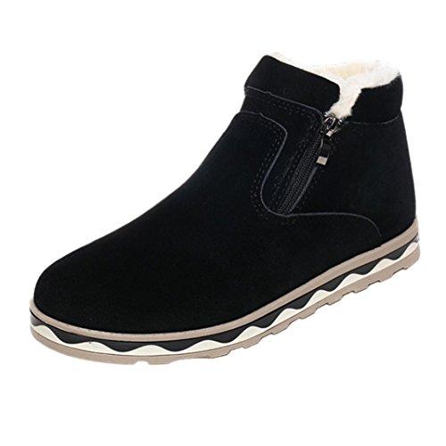 LHWY Herren Sneaker Männer Winter Warme Stiefel Beiläufige Wasserdichte Rutschfeste Schuhe Plüsch Schneeschuhe Schwarz