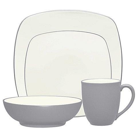 Noritake Colorwave Square Simple Chic Dinnerware Dishwasher Microwave Safe Imported Stoneware 4-Piece Place Setting, Slate