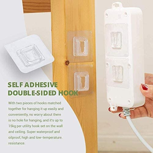 GSJDD Double-Sided Adhesive Wall Hooks, Reusable Clear Waterproof And Oil-Proof Sticker Hook Without Punching And Nails, Heavy Duty Command Hooks for Bathroom And Kitchen(10pairs)