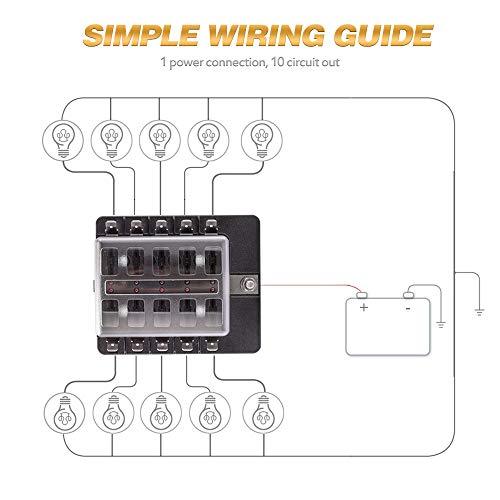 LED Illuminated Automotive Blade Fuse Holder Box 6-Circuit Fuse Block+stickers