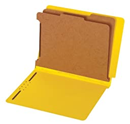 Globe-Weis/Pendaflex End Tab Classification Folders, 2 Dividers, 2-Inch Embedded Fasteners, Letter Size, Yellow, 10 Folders Per Box (23789GW)