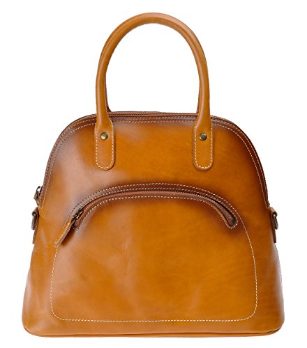 ZLYC Women's Vintage Handmade Leather Seashell Bags Cross Body Shoulder Handbag Top Handle Bag (Brown) by ZLYC
