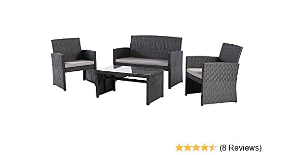 Amazon.com Grand patio Outdoor Furniture Sets Wicker Conversation Set with Glass Top Table (4-Piece Set) Garden u0026 Outdoor  sc 1 st  Amazon.com & Amazon.com: Grand patio Outdoor Furniture Sets Wicker Conversation ...