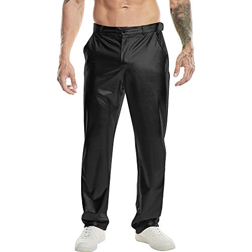 SATINIOR Men Metallic Shiny Stretchy Pants Faux Leather Motorcycle Jeans Style Trousers