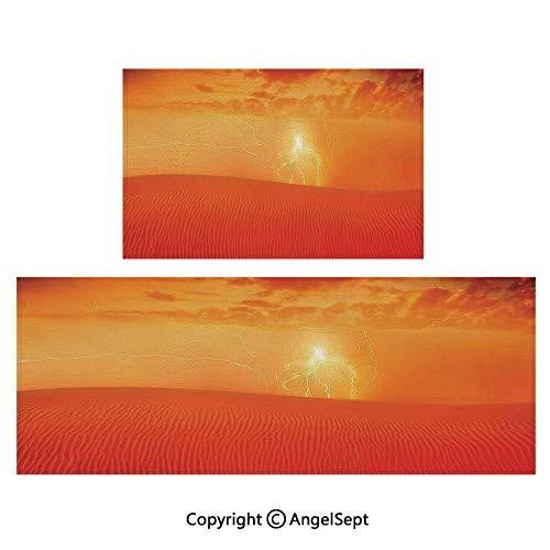 - Indoor Outdoor Floor Mats 2piece Suit,Hot Arabian Desert Landscape Dramatic Sunset in d Dune Wilderness Nature Theme 16