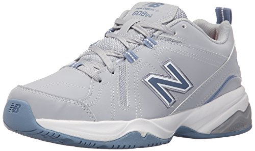 Blue Leather Athletic Shoes (New Balance Women's WX608v4 Training Shoe, Grey/Blue, 7 D US)