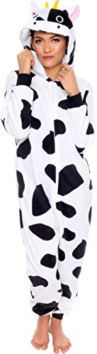 Silver Lilly Slim Fit Animal Pajamas - Adult One Piece Cosplay Cow Costume (Black/White, Medium)]()