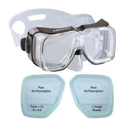 BiFocal Gauge Reading Scuba Dive Snorkeling Mask Prescription Lenses, BK, +1.0 Bifocal