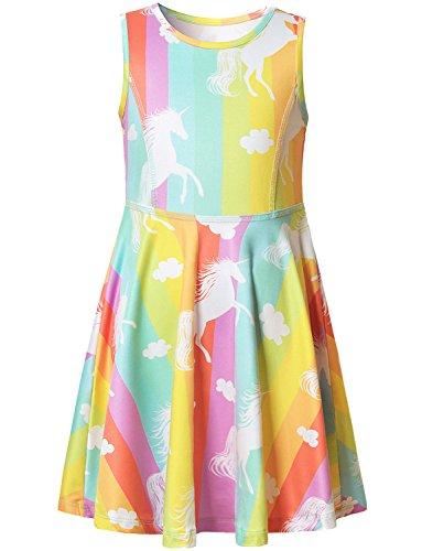 Jxstar Girls Unicorn Dresses Summer Sleeveless Kid Party Flo