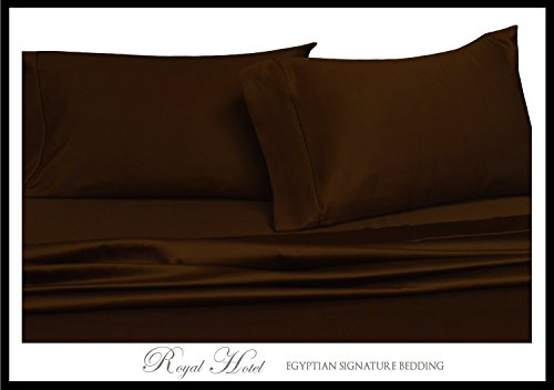 Chocolate 600-Thread-Count 4pc Olympic Queen Bed Sheet Set 100-Percent Cotton, Sateen Solid, Deep Pocket (Hotel Chocolate)