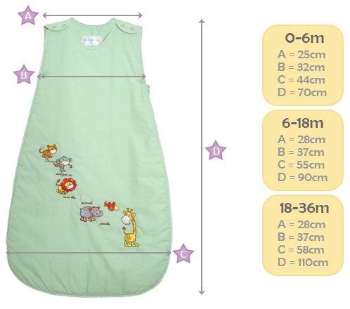 Dream Bag Saco de dormir diseño de animales de la selva crema Talla:0-6mths, 0.5tog: Amazon.es: Bebé