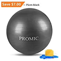 PROMIC Exercise Ball (45-85cm) with Quick Foot Pump, Professional Grade Anti Burst & Slip Resistant Balance Ball for Yoga, Balance, Workout, Fitness, Use for a Work Chair (8 Colors) from DVC