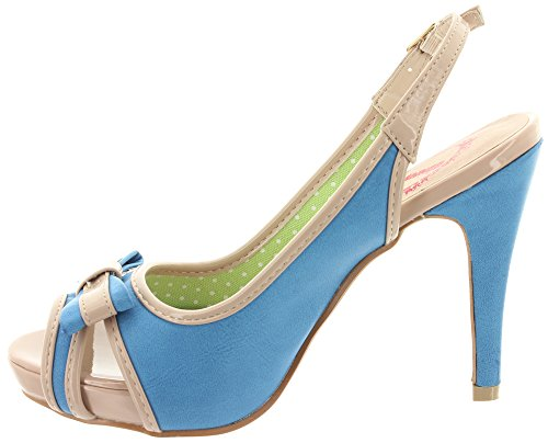 Banned Peeptoe Platforms Mary Lou BND009 Blue Blue