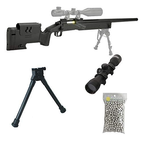 Pack complet Airsoft M62 Sniper Double Eagle/Sniper à Ressort/métal-ABS/Rechargement Manuel (0.5 Joule)-Livré avec… 1