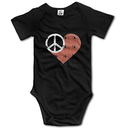 XHX Newborn Baby's Peace and Love Short Sleeve Romper Onesie Bodysuit Jumpsuit ()