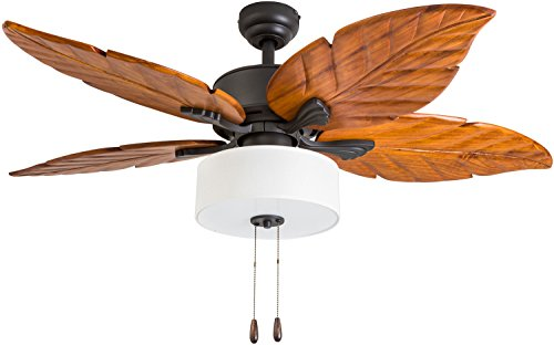 Hand Carved Fine Wood - Prominence Home 50781-01 Patagonia Ridge Tropical Ceiling Fan (3 Speed Remote), 52