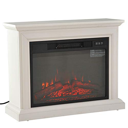 "HOMCOM 31"" 1400W Freestanding Portable 3D LED Electric Fireplace Mantel Heater Stove - White"