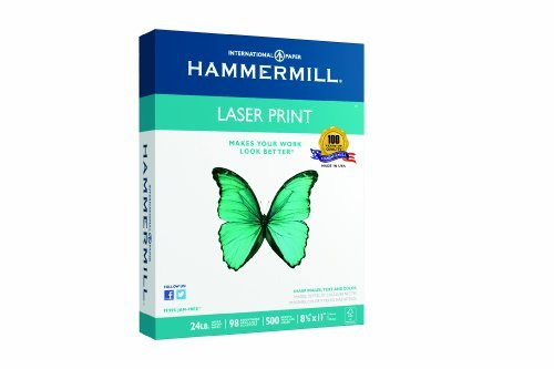 5 X Hammermill Laser Print, 24lb, (8.5 x 11) inch, 98 Bright, 500 Sheets/1 Ream (104604)