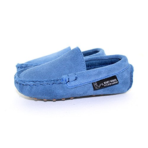 Mocasines zapatos bebe Unisex - Calidad Premium Piel organica 100% by BABYWINGS ® ( 12-18 Months: Length: 14.5cm, Blue)
